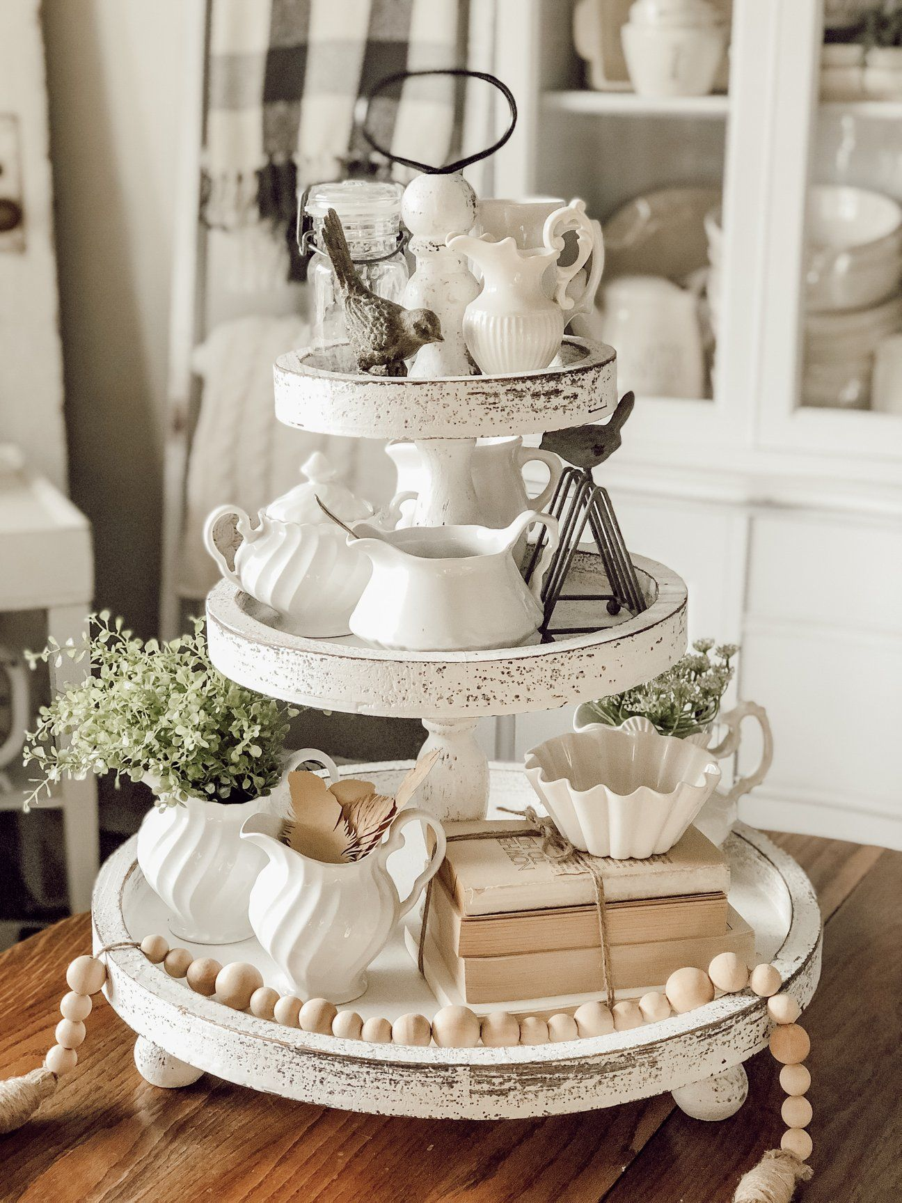 3 tier round wooden tray white distressed wooden tray