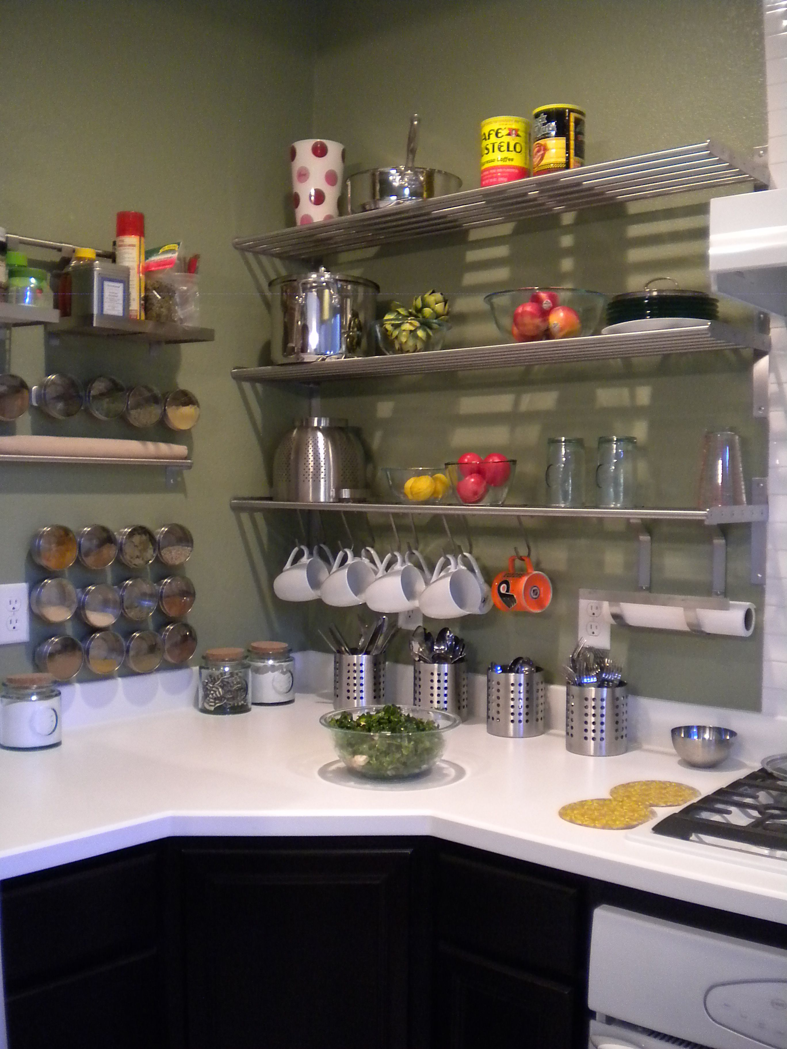 my kitchen. ikea grundtal system, if you ever wanted to know what it