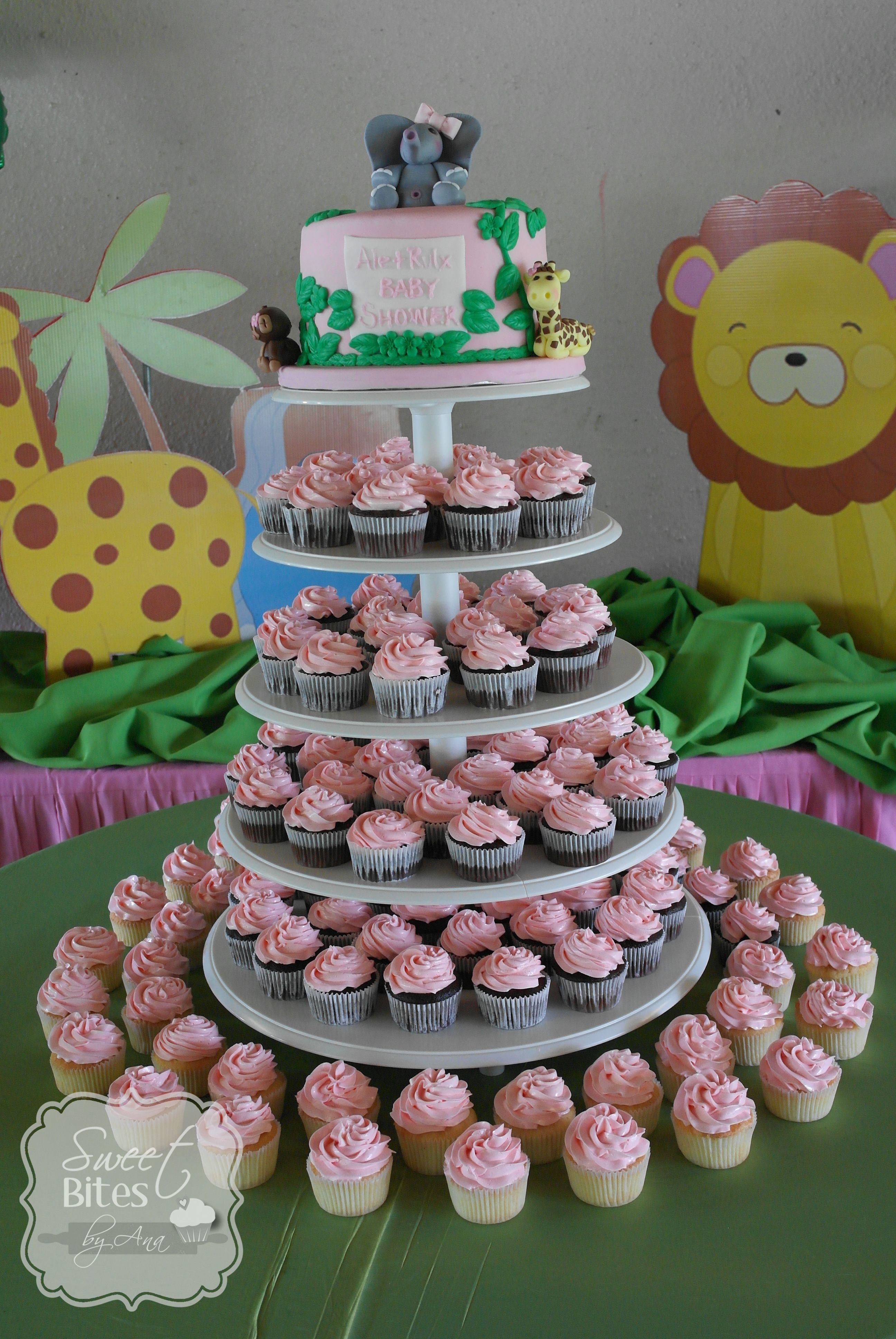 Baby Girl Jungle Theme Baby Shower Part - 19: Girl Jungle Theme Baby Shower Cakecupcake Tower My Cakes Girl Jungle Theme  Baby Shower Cakecupcake Tower