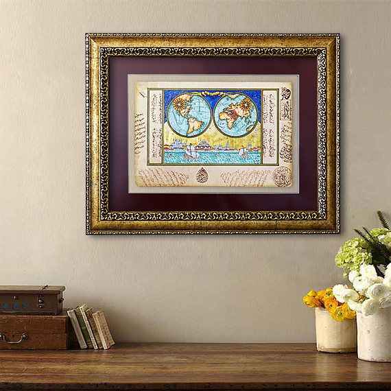 Historic map original painting framed office wall art double turkish miniature painting double hemisphere map ottoman gumiabroncs Images