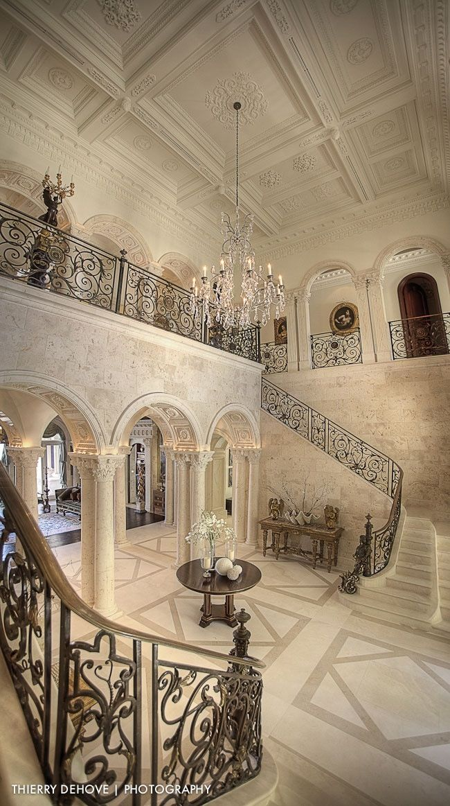 Entrance Double Staircase Is A Must House Design Elegant   Grand Staircase House Plans   Curved Staircase   3 Car Garage   Acadian Home Interior   Single Story   1800 Square Foot