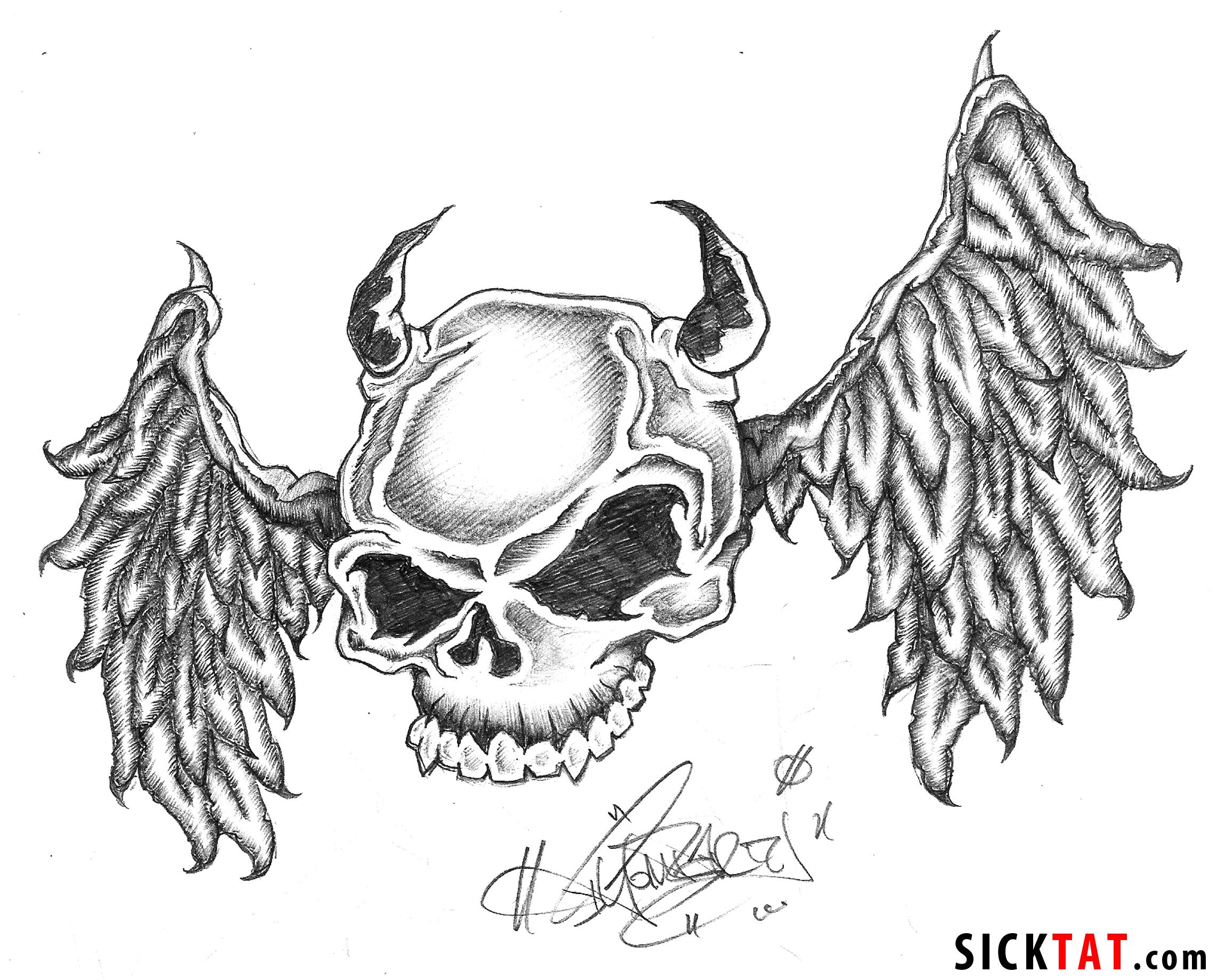 Free skull tattoo designs to print - Skull With Wings Tattoos Jpg 2284 1840 Beautiful Body Art