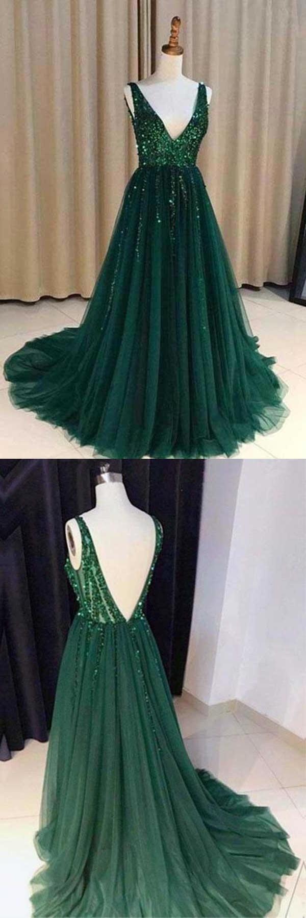 Photo of Chic A-Line V-Ausschnitt rückenfrei dunkelgrün Tüll Abendkleid mit Pailletten Abendkleider