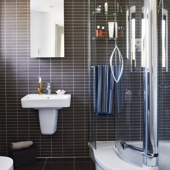 Black and white ensuite bathroom ensuite bathrooms for Modern small ensuite