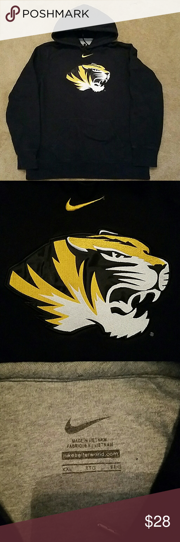 NIKE Missouri Tigers  Hooded Sweatshirt Excellent condition, tag size says XXL fits like a unisex XL. One front pocket. Nothing on the back. Nike Tops Sweatshirts & Hoodies