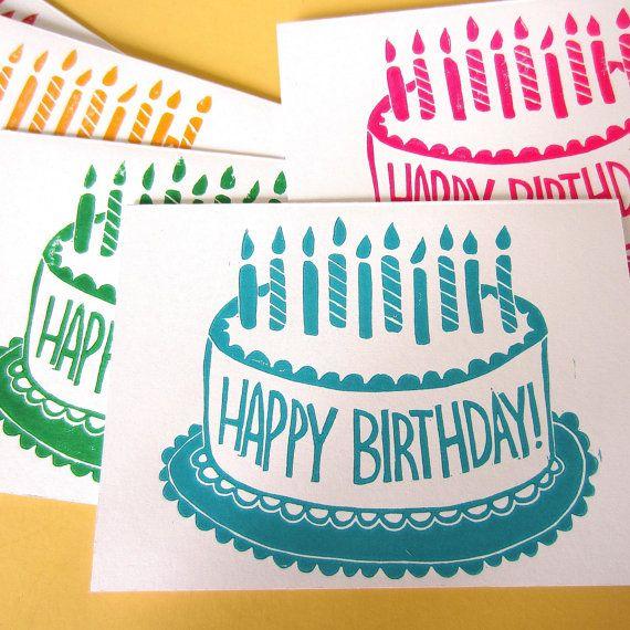 Happy Birthday Cake Cards Set Of 6 Handmade Linocut Block Print