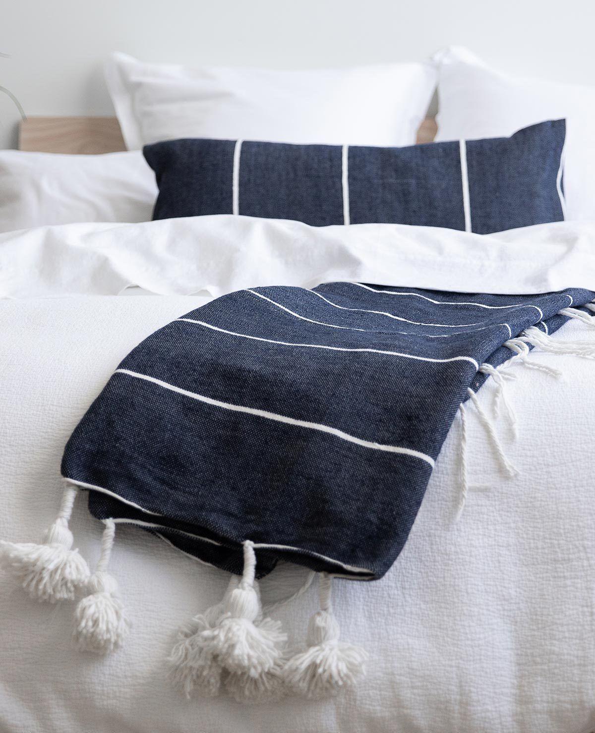 Beach House Pom Pom Throw Navy White Stripe White Bedroom Diy Bedroom Storage Striped Bedding