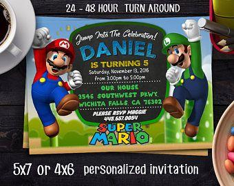 SUPER MARIO INVITATIONSuper Mario Brother InvitationSuper Mario
