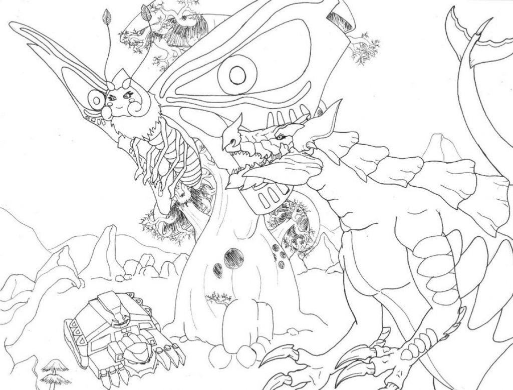 a world full of monster and godzilla coloring page fantasy