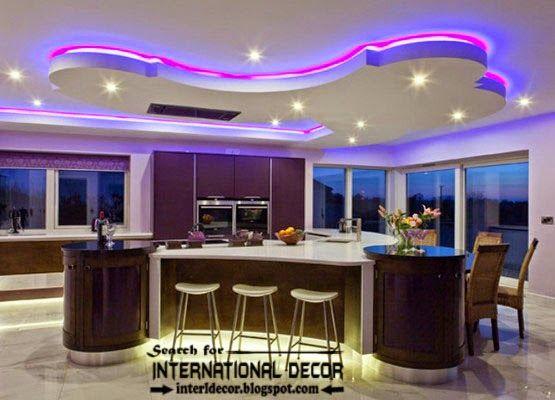 Led Ceiling Lights False Ceiling Design Of Plasterboard For Kitchens Modern Kitchen Design Kitchen Ceiling Design False Ceiling Design