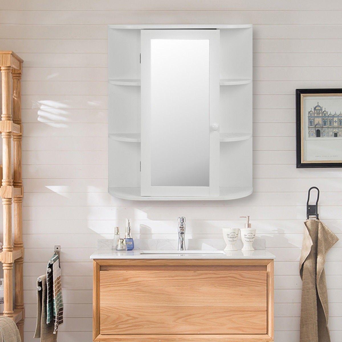 Costway Bathroom Wall Mounted Cabinet Shelf White Mirrored Door ...