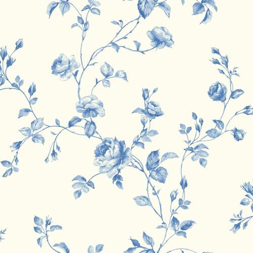 Kitchen And Bath White True Blue Light Rose Toile Wallpaper York Wallcoverings W