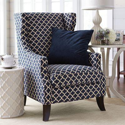 Alec Navy Blue Trellis Wing Chair Home Decor Accent
