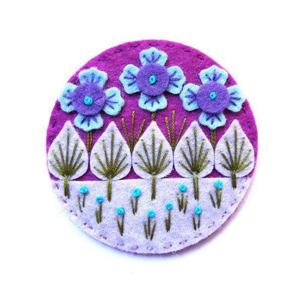 WONDERLAND felt brooch pin with freeform by designedbyjane on Etsy, £15.00