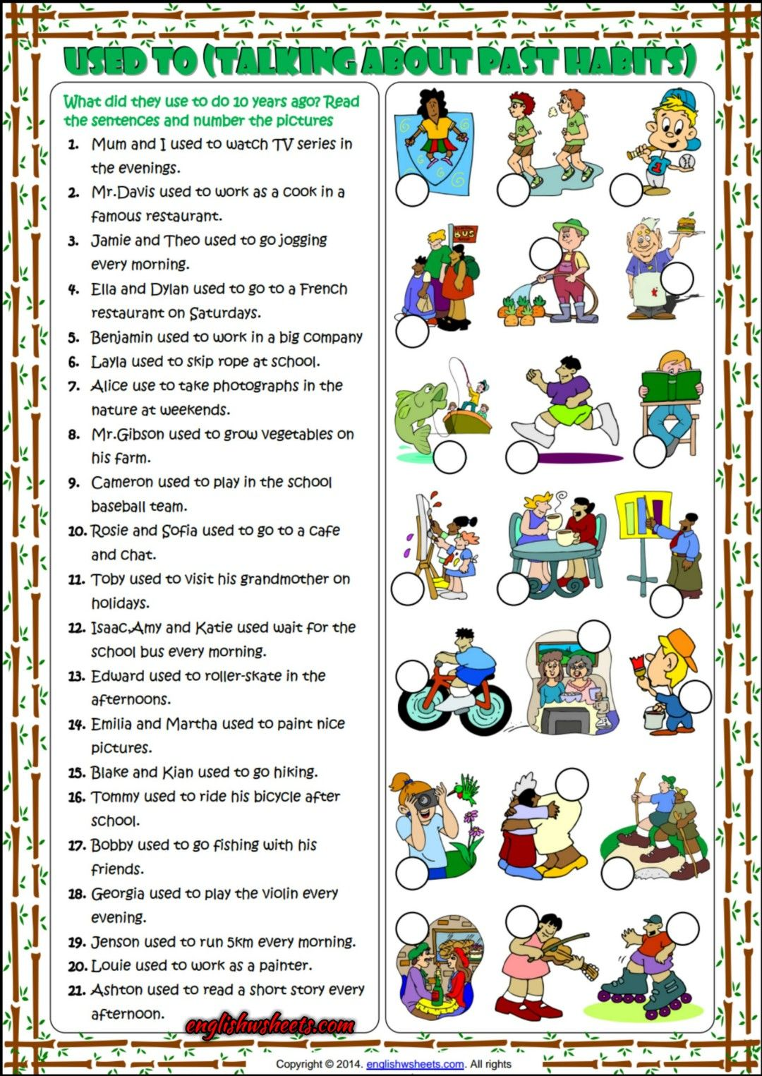 Used To Past Habits Matching Exercise Esl Worksheet Esl Worksheets English Teaching Materials English Lessons [ 1525 x 1080 Pixel ]