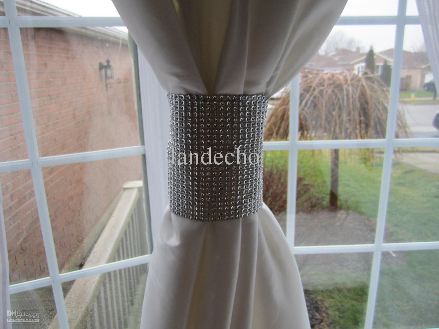 Wholesale Home Decoratione Bling Curtain Band Wedding Party Decor Sparkle Rhinestone Ribbon
