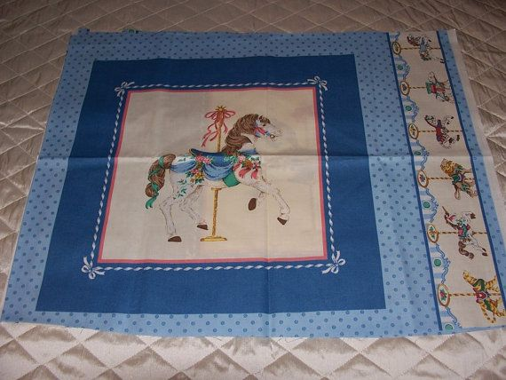 Fabric Panel Vintage Carousel Horse Quilt Cotton By