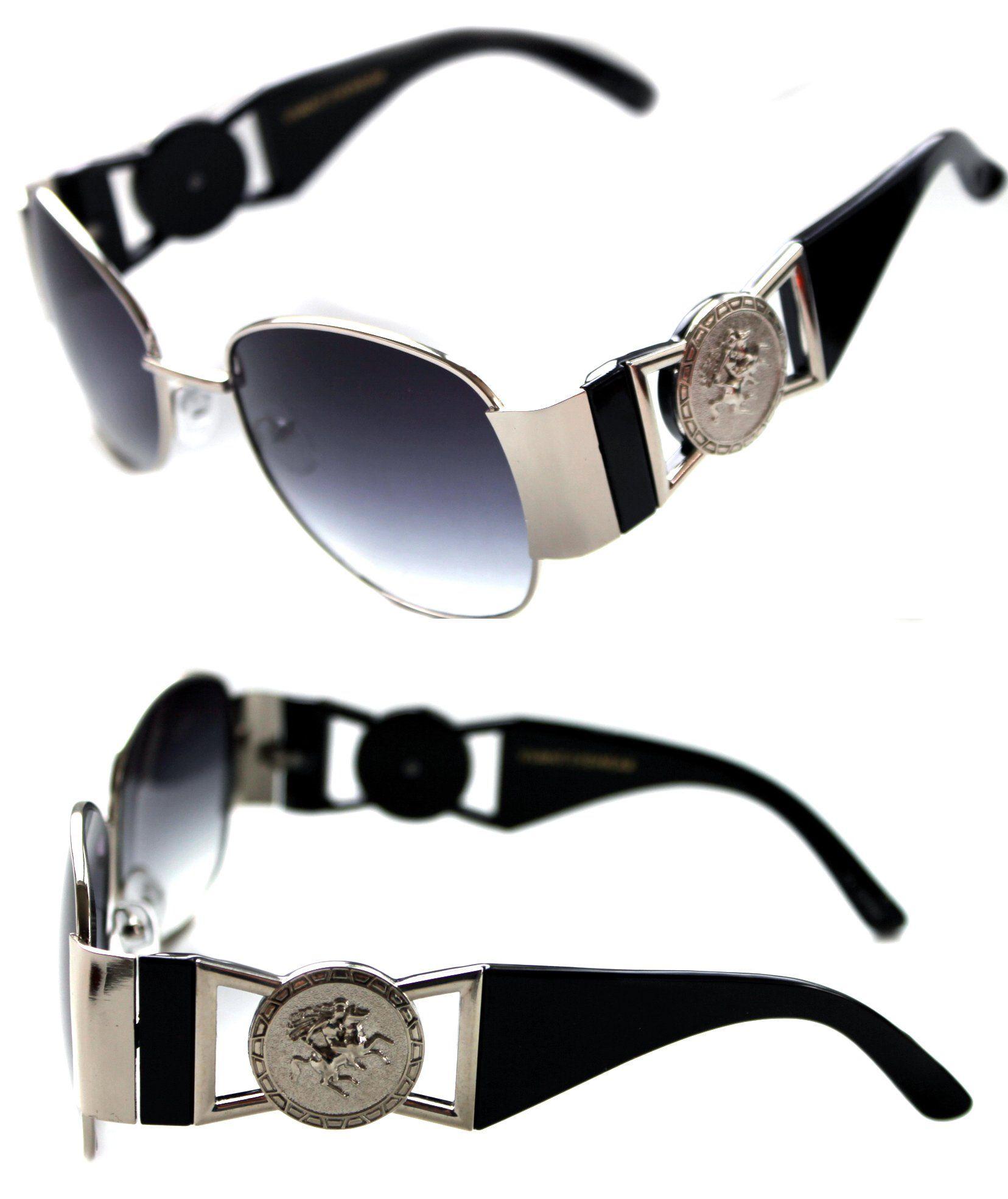 f569e210c03 Medusa Metal Gold Logo Black Silver Aviator Sunglasses Vintage Hip Hop  Rapper