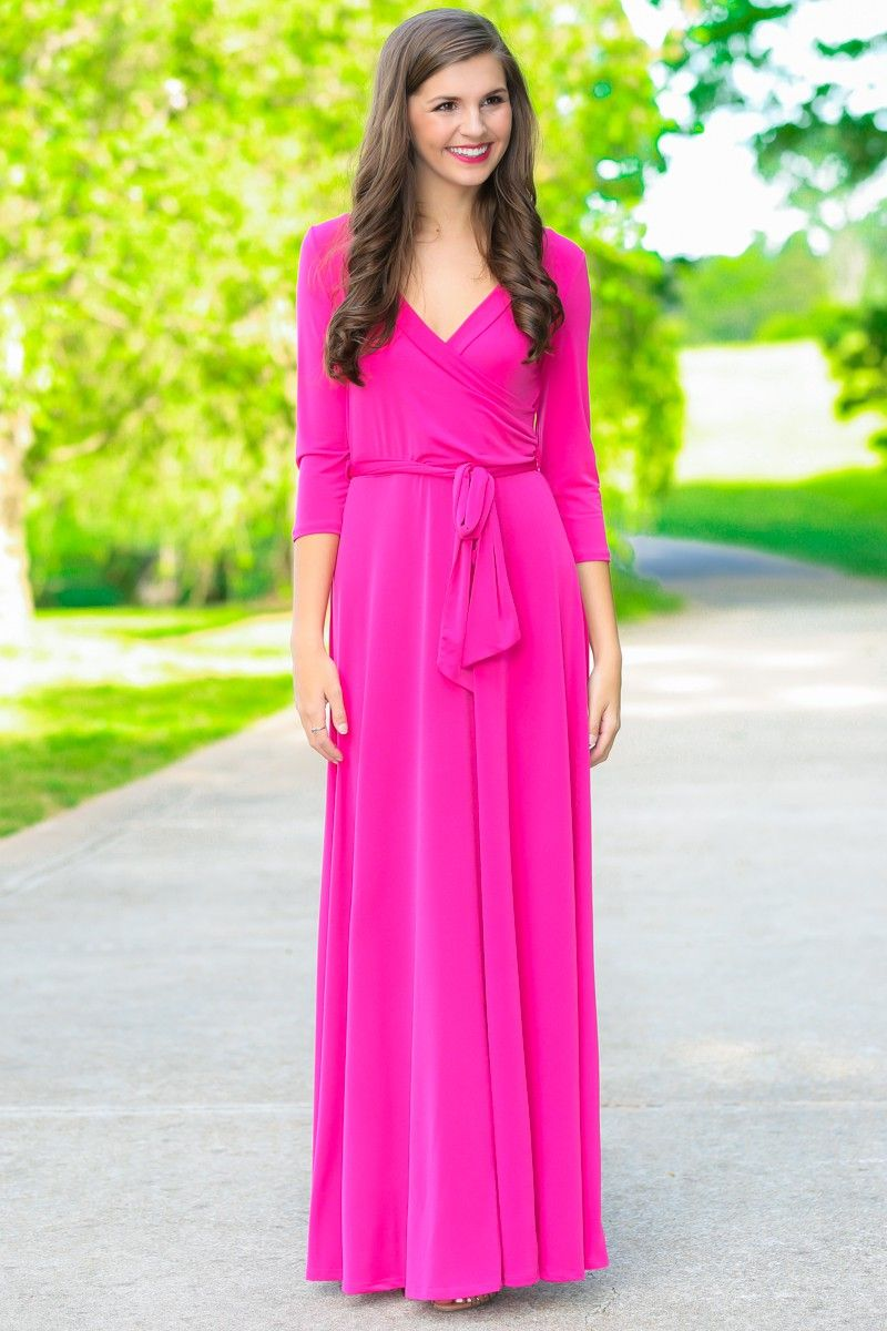 Valerie Dark Pink Long Sleeve Wrap Maxi Dress at reddressboutique ...
