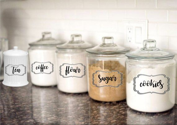 Kitchen Canister Decal Set - Flour Decal - Sugar Decal - Tea ...