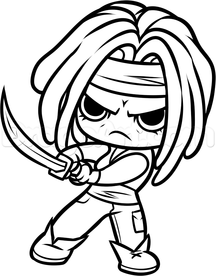 the walking dead coloring pages - how to draw chibi michonne from the walking dead step 12