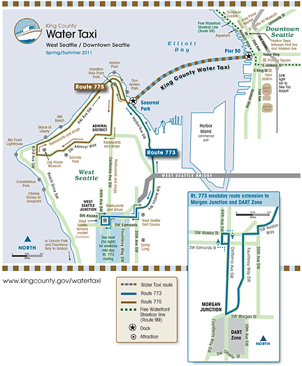 Alki Beach Seattle Map.Map Showing Water Taxi And Bus Routes Things To Do West