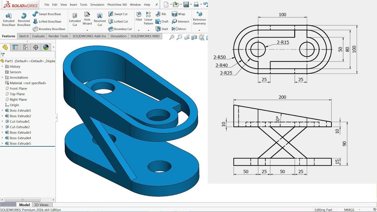 Solidworks Tutorial For Beginners Exercise 22 Youtube Solidworks Tutorial Solidworks Tutorial