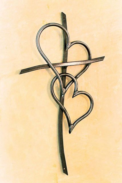 Double Heart Cross Clear - Comes in 4 Sizes