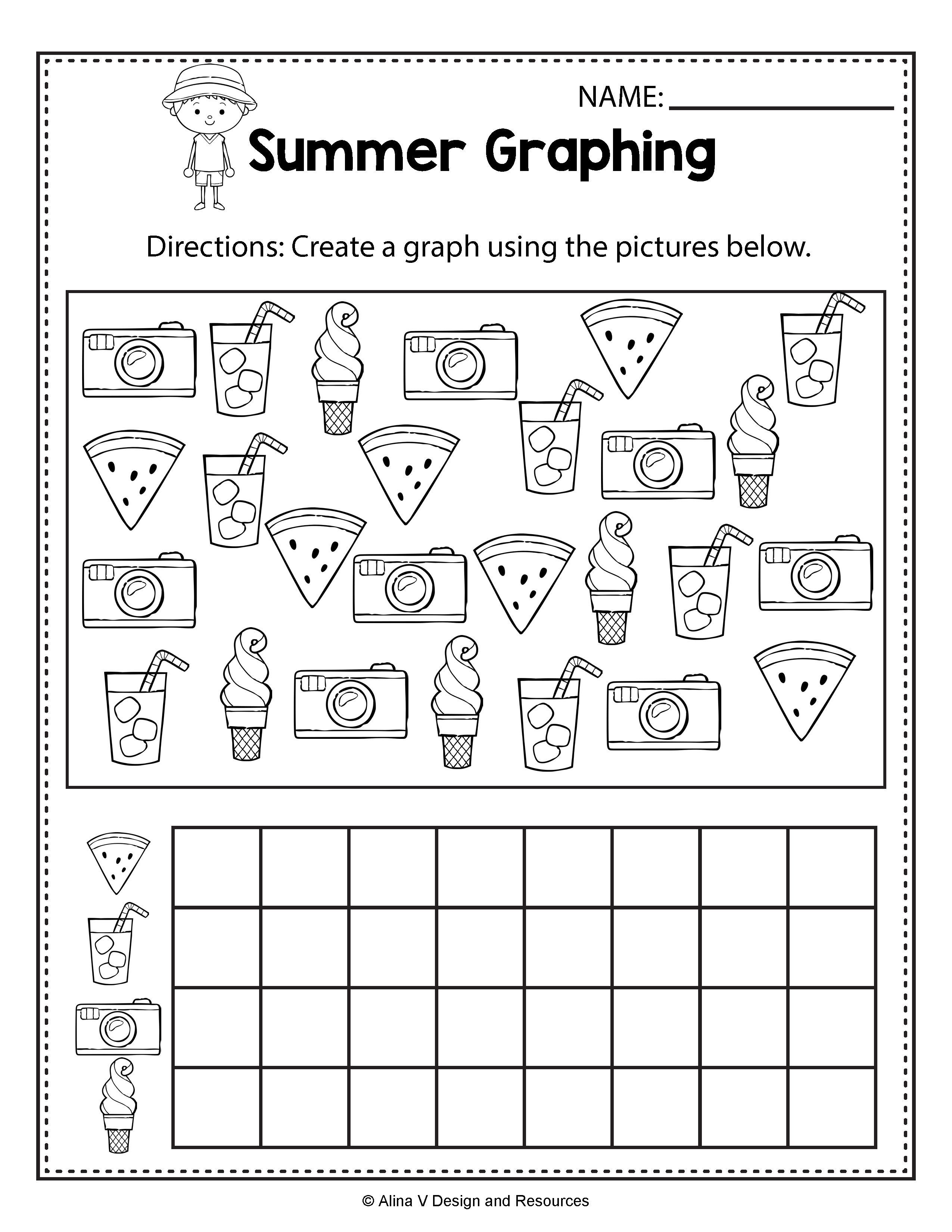 Summer Graphing - Summer Math Worksheets and activities for preschool [ 3300 x 2550 Pixel ]