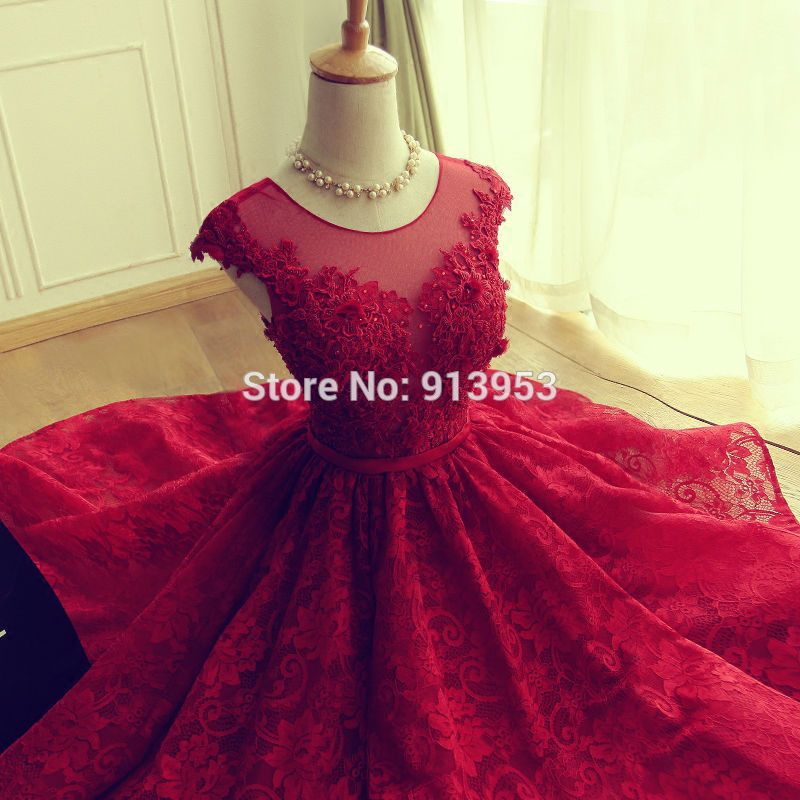 AnnBridal YEC27 Scoop Open Back 2016 Red Lace Cocktail Dress ...