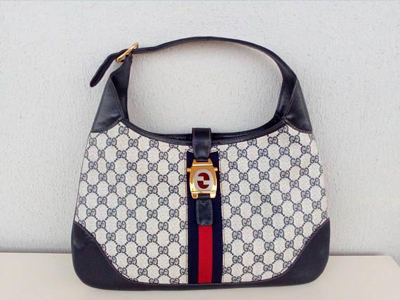 0d9553a9147 Vintage Gucci navy blue GG monogram Jackie o hobo bag RARE