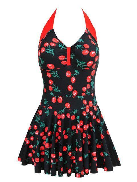 Plus Size Newest Stripe Padded Halter Skirts Swimwear Women e