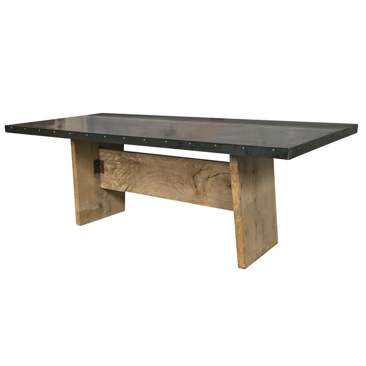 Zinc Top Trestle Table From A Unique Collection Of Antique And Modern Farm Tables At Https Www 1stdibs Com Furniture Tables Farm Ta With Images Zinc Table Trestle Table