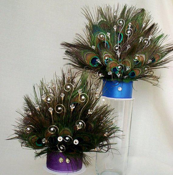 Peacock Wedding Ideas Etsy: Peacock Cake Top Purple Royal Blue Wedding By AmoreBride