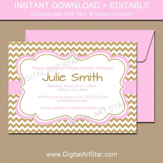 Girl Baby Shower Invitation Template In Pink And Gold With