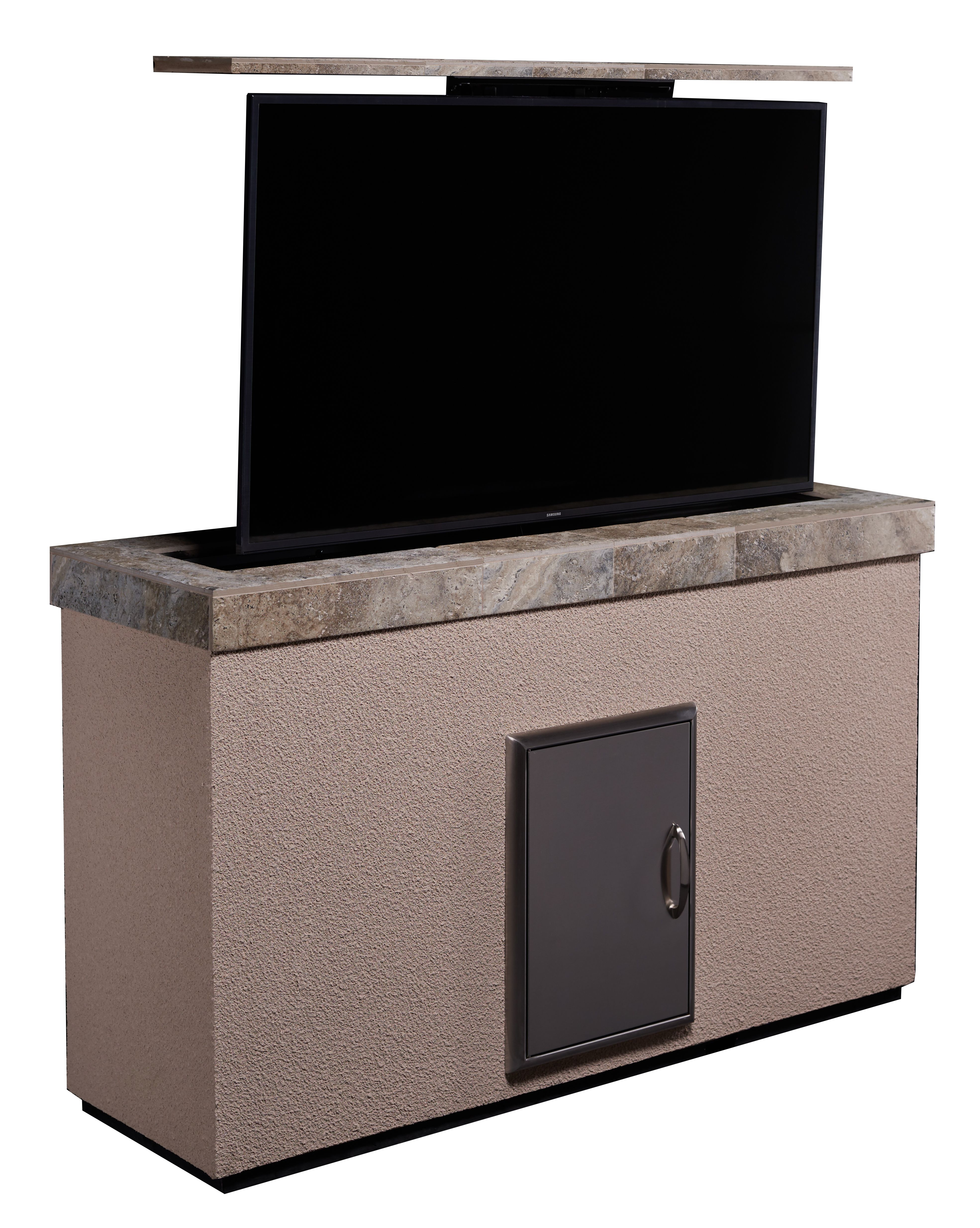The Stucco TV lift furniture system which hides the TV has a