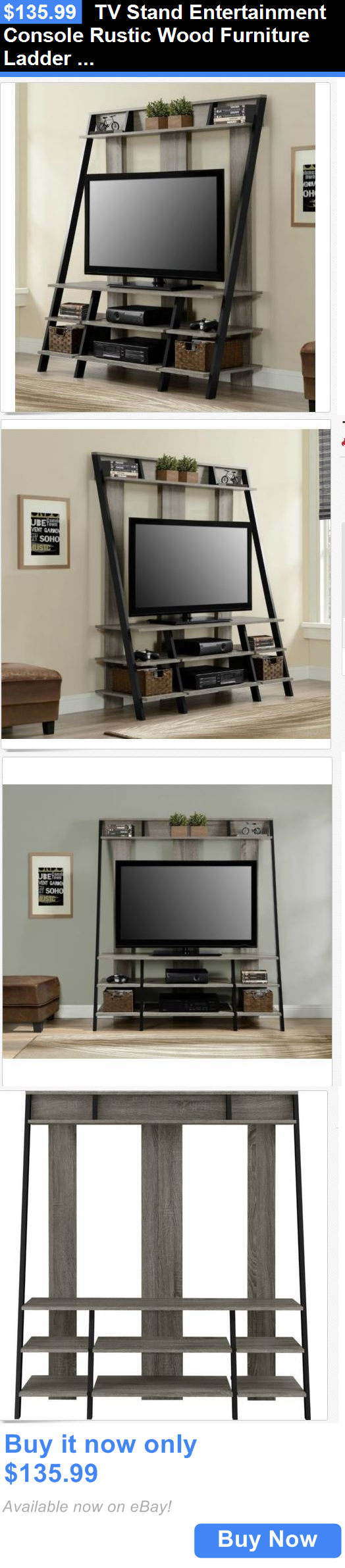 Entertainment units tv stands tv stand entertainment console rustic wood furniture ladder shelf urban modern