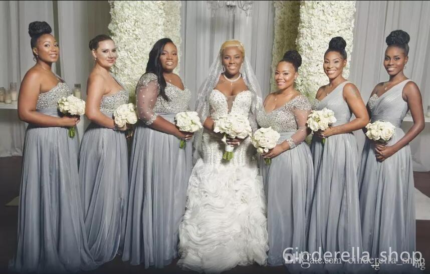 2018 New Silver Plus Size Bridesmaids Dresses A Line Floor Length Major Beading Africa Bridesmaid Dresses Plus Size Silver Wedding Dress Bridesmaid Dresses Uk