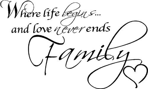 Where Life Begins and Love Never Ends Family Wall Quotes
