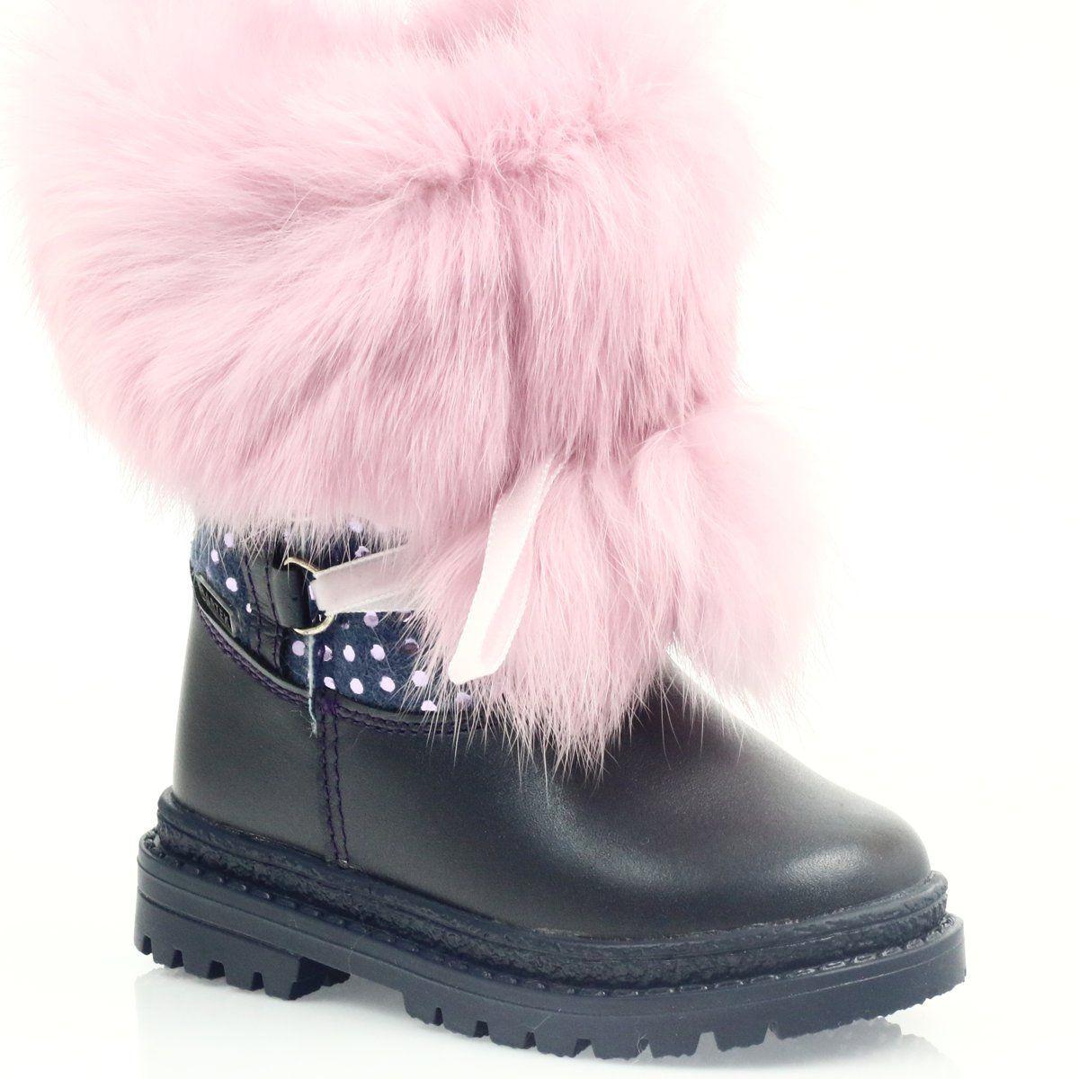 Kozaczki Z Futerkiem Bartek 216390 Rozowe Granatowe Boots Childrens Boots Fur Boots