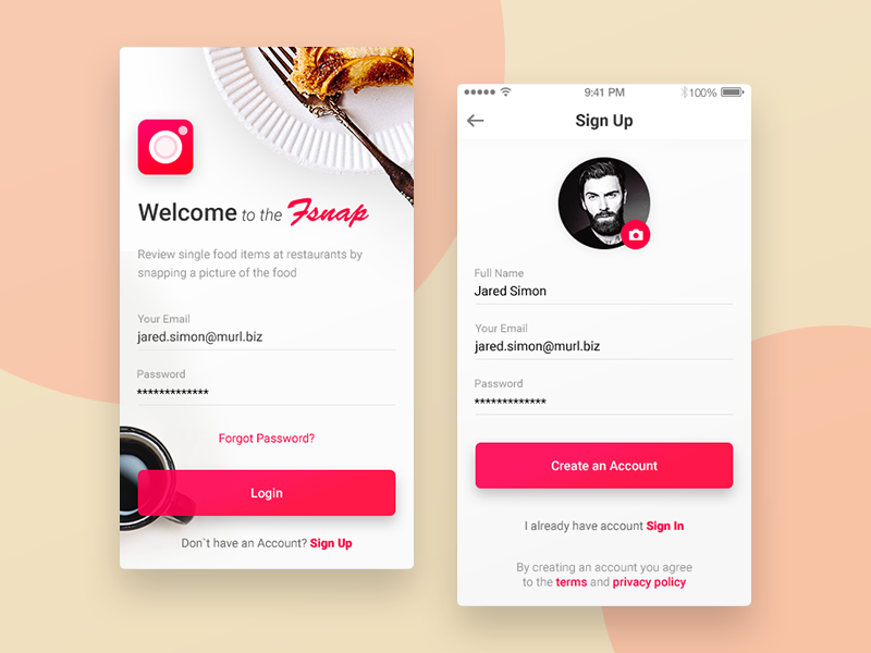 welcome and sign up screens for fsnap app the fsnap app allows users to review single