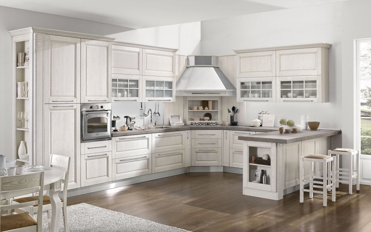 Cucina componibile, effetto bianco frassinato | : Sofia S5L6 ...