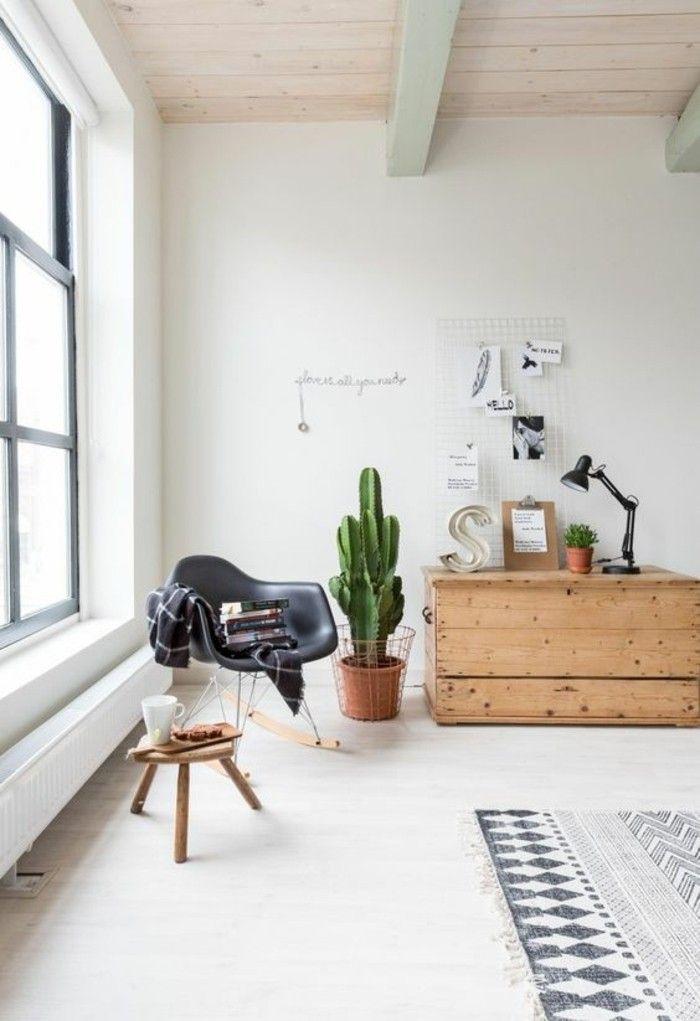 comment crer une magnifique dcoration dans lappartement chic tapis blanc noir armoire en bois clair - Comment Dcorer Un Appartement Blanc