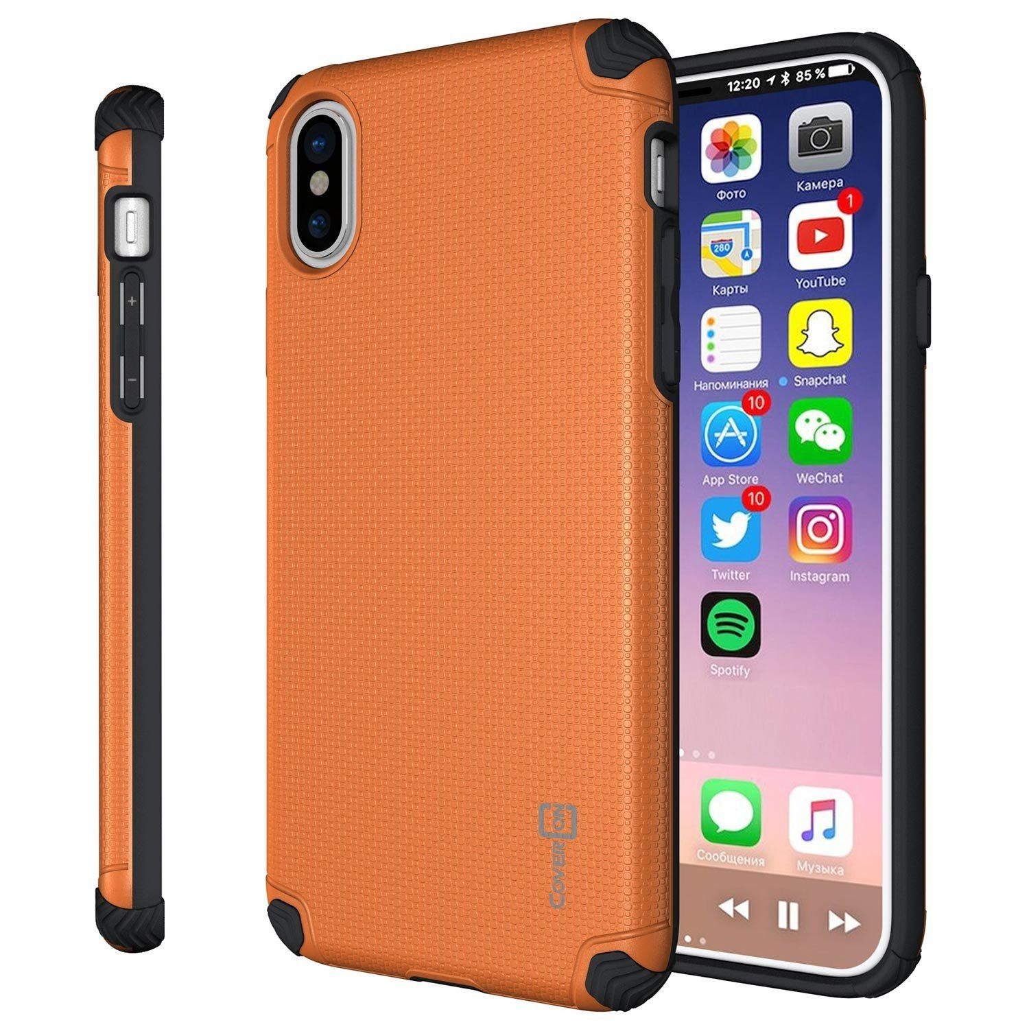 iPhone X Slim Case CoverON Bios Series Minimalist Thin Fit Protective Hard Phone Cover with Embedded Metal Plate for Magnetic Car Mounts Orange and Black