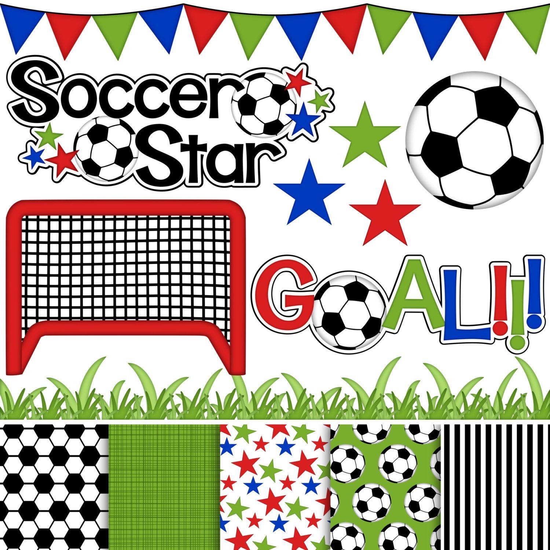 soccer star digital clipart paper set of 14 flags grass net