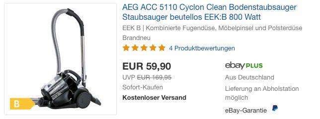 AEG ACC 5110 Cyclon Clean Bodenstaubsauger Haus  Garten - bosch küchenmaschine profi 67