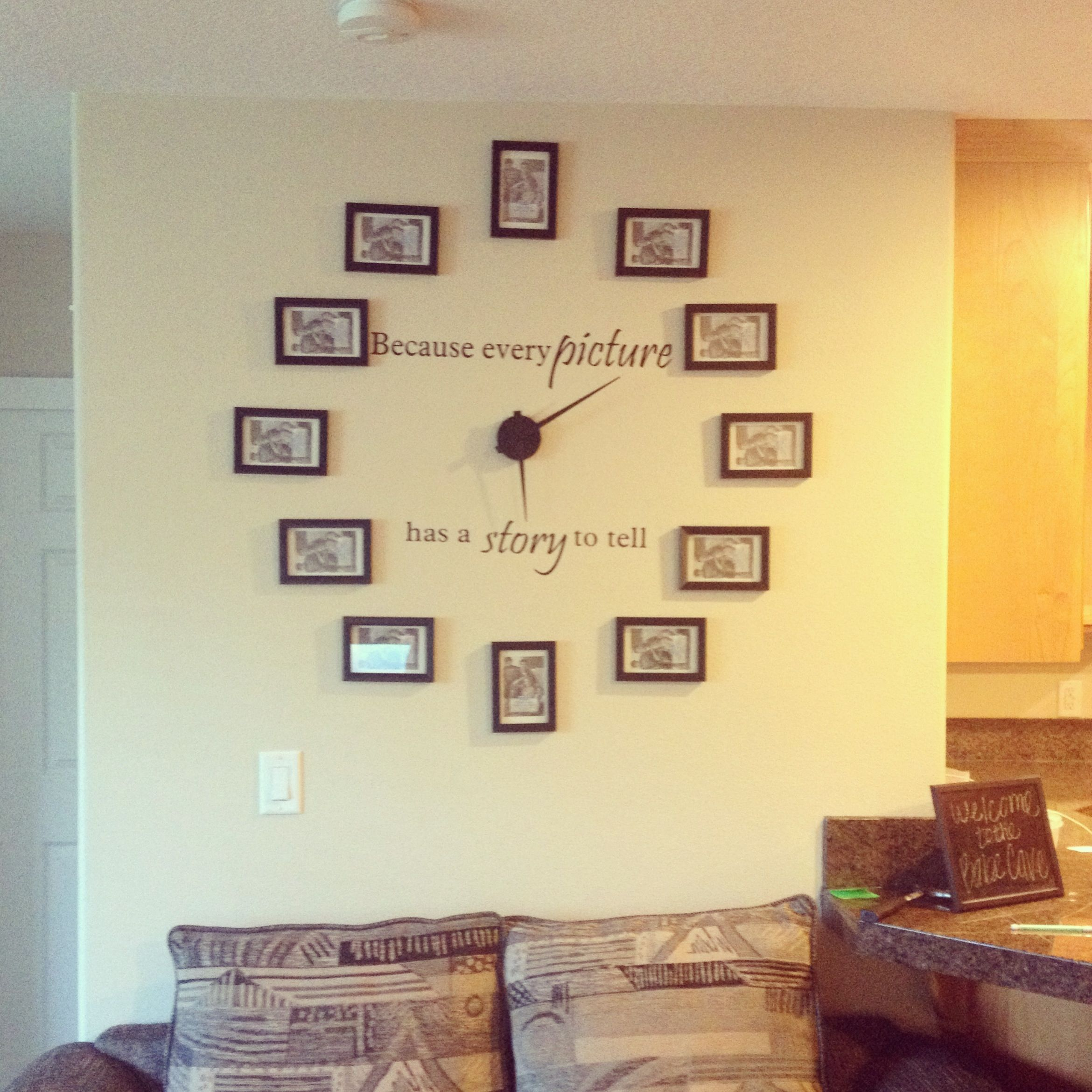 Picture frame clock we made for the babe cave! | wall decor ideas ...