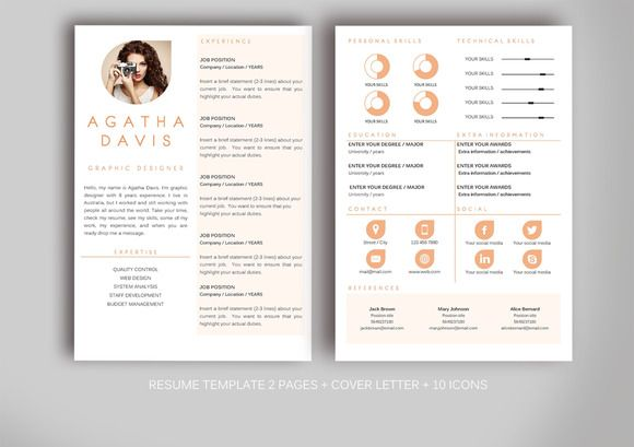 Resume template for MS Word ~ Resume Templates on Creative Market - ms resume templates