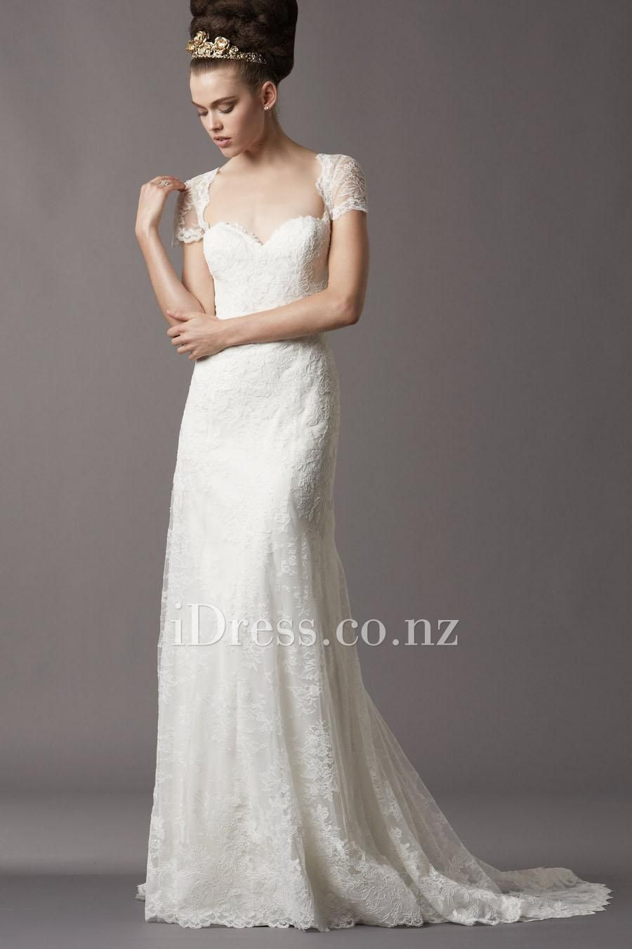 Short lace wedding dress with sleeves  embroidered lace short sleeves wedding dress witth chapel train