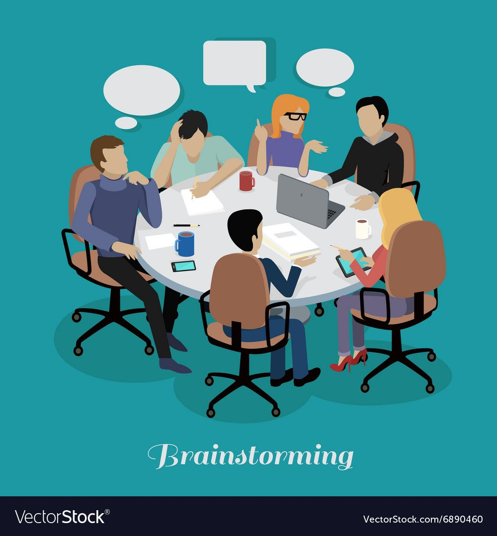 Meeting and Discussion Briefing vector image on ...